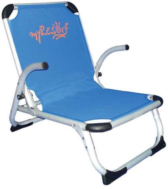 Καρέκλα Παραλίας Αλουμινίου Με Ψηλή Πλάτη Μπλε