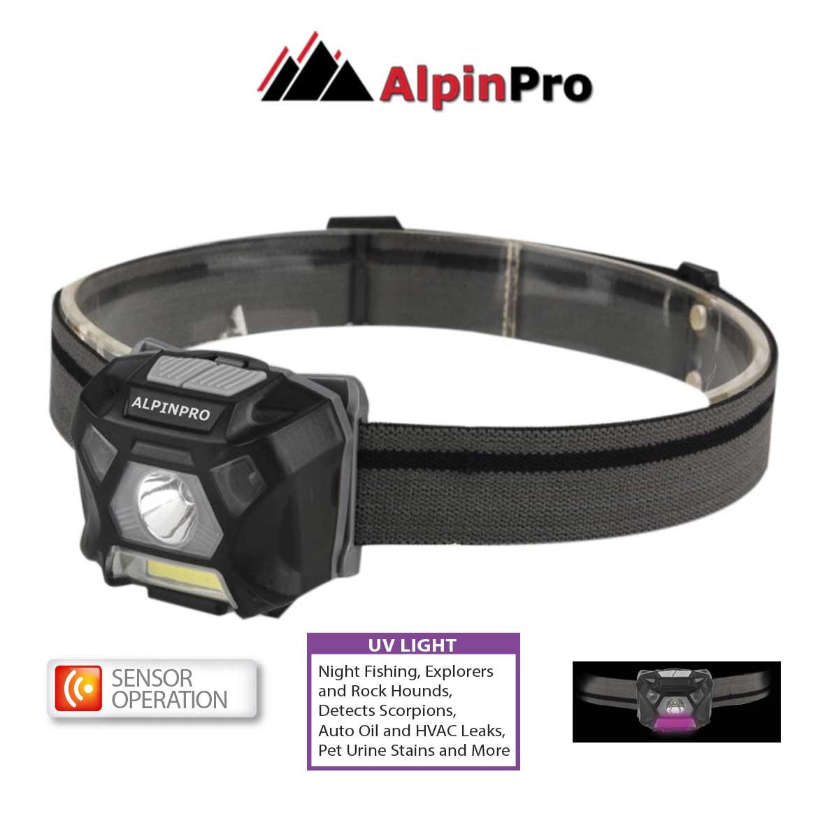 Φακός Κεφαλής Alpinpro με Sensor + Cob Uv