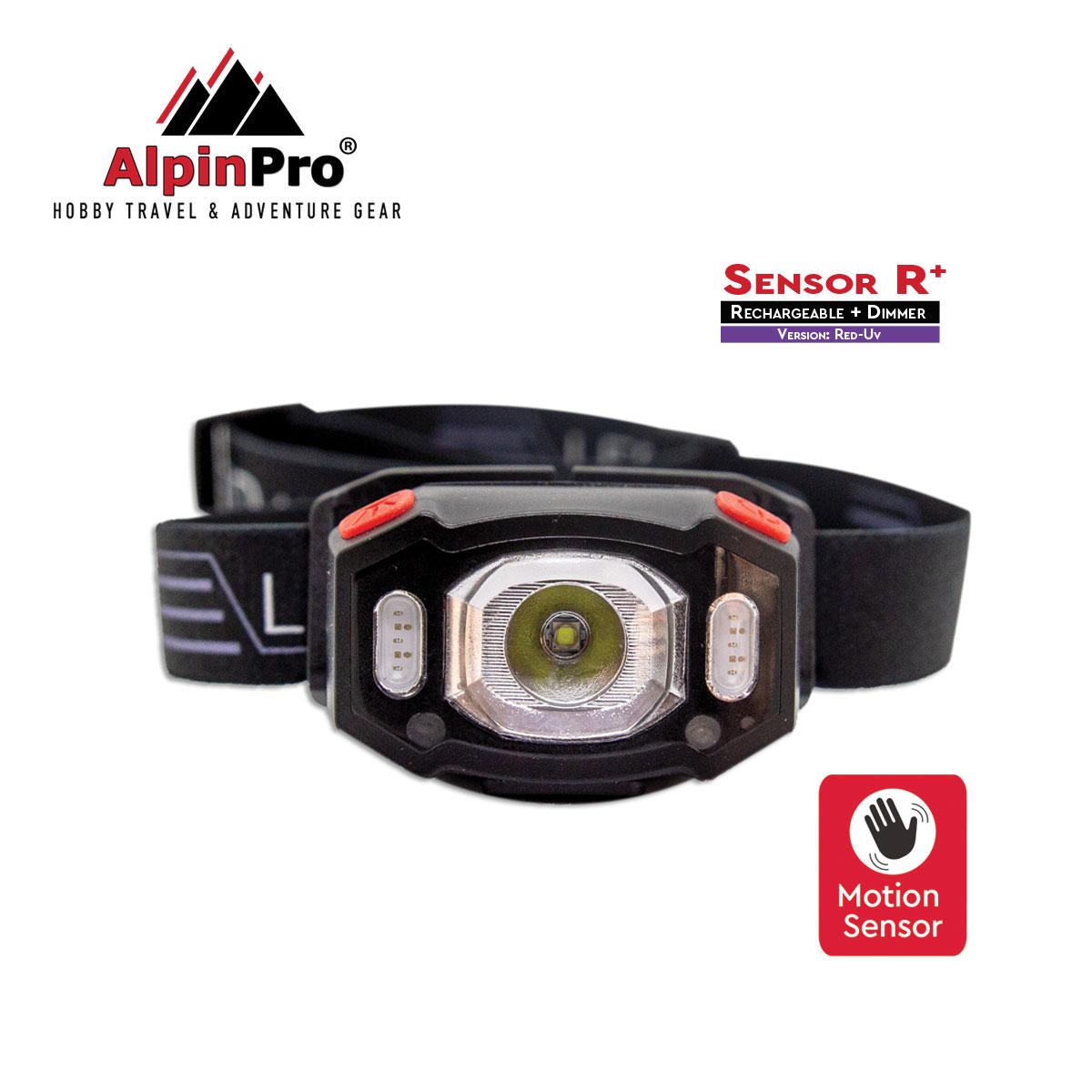 Επαναφορτιζόμενος Φακός Κεφαλής Alpinpro Sensor Rd/uv