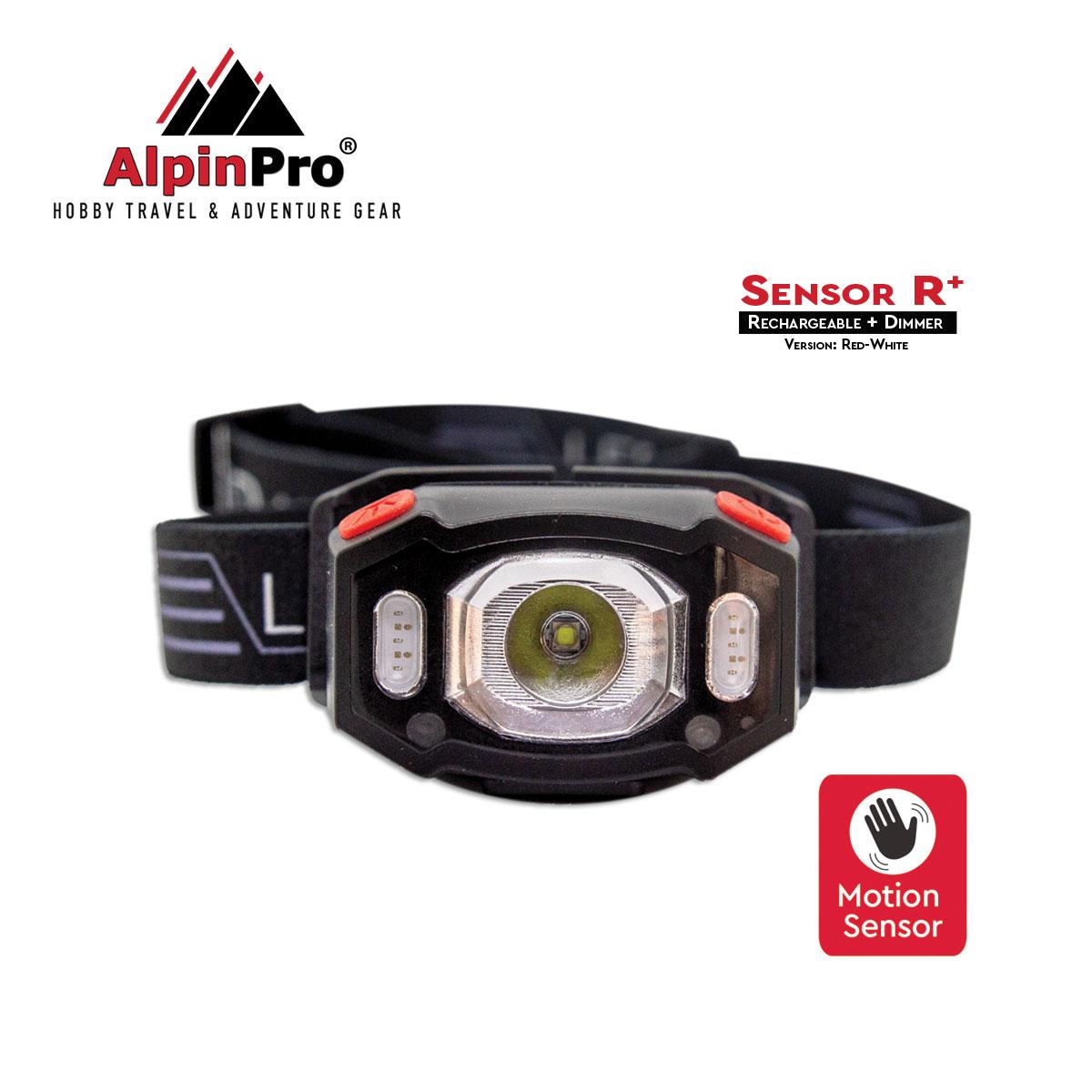 Επαναφορτιζόμενος Φακός Κεφαλής Alpinpro Sensor + Cob R/w